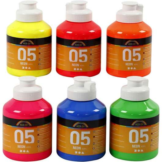 A-Color - Acrylfarbe - Neon - (6 x 500 ml)