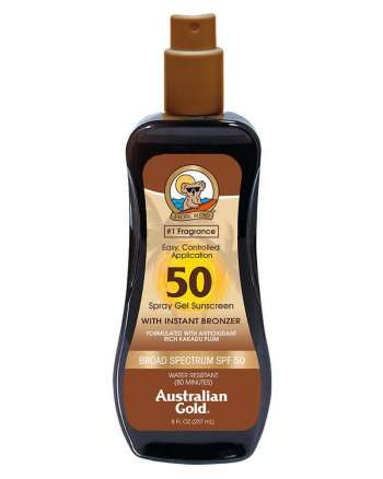 Australian Gold - Sunscreen SPF50 Spray Gel w. Instant Bronzer 237 ml