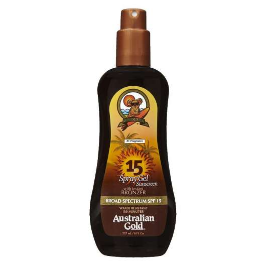 Australian Gold - Sunscreen Spray Gel w. Instant Bronzer 237 ml - SPF 15
