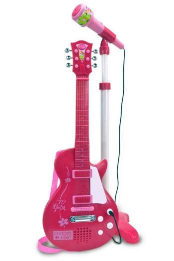 Bontempi - Pink electronic rock guitar with microphone (245872)