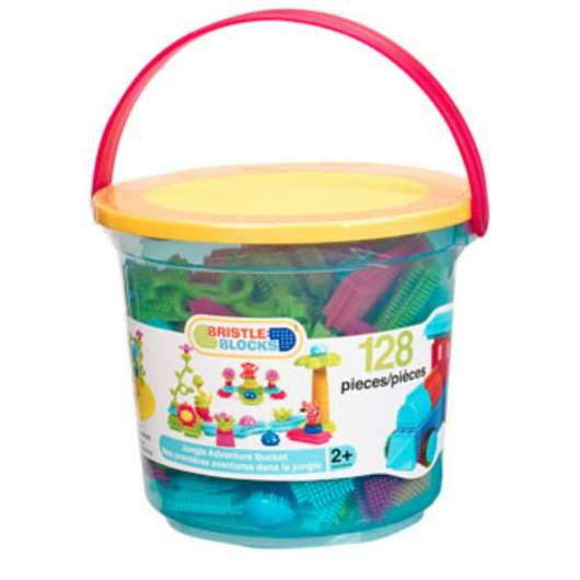 Bristle Blocks - Jungle adventure bucket, 128 pc (703088)